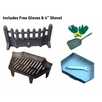 """Beacon Fret Fire Front, Grate and Ashpan Black Fire Set (16 or 18 Inch) with Free Gloves and 4"""" Shovel"""