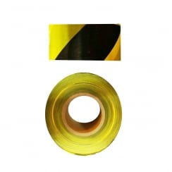 Black and Yellow Zebra Warning Tape - 70mm x 500m Roll