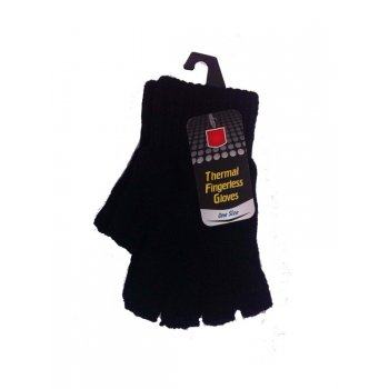 Your DIY Shop Black Wool Insulated Thermal Fingerless Gloves - One Size Fits All