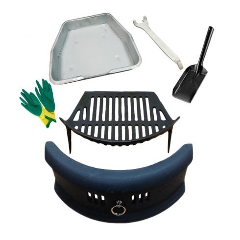 "Your DIY Shop Bowed Front Fret - Cast Iron Fire Grate Ashpan & Lifting Tool, 4"" Shovel and Gloves Set 16or18"""