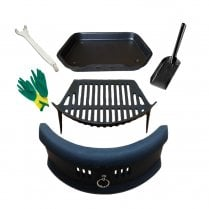"Bowed Front Fret - Cast Iron Fire Grate Ashpan & Lifting Tool, 4"" Shovel and Gloves Set 16or18"""