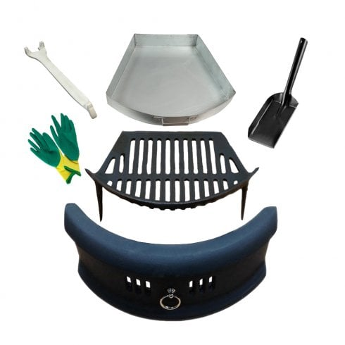 "Your DIY Shop Bowed Front Fret - Cast Iron Fire Grate Ashpan & Lifting Tool, 4"" Shovel and Gloves Set"