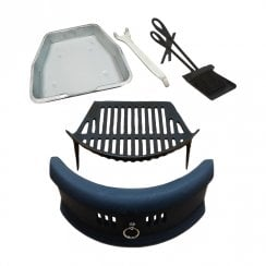 Bowed Front Fret - Cast Iron Fire Grate Ashpan & Lifting Tool, Companion Set Set