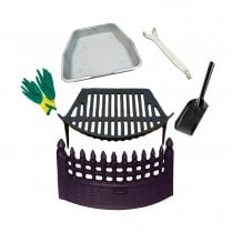Castle Cast Iron Fire Front, Cast Iron Grate and Ashpan & Tool Black Fire Set incl Gloves and Shovel