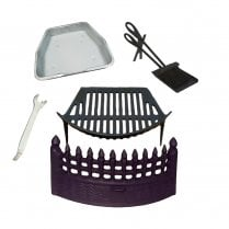 "Castle Cast Iron Fire Front, Grate and Ashpan Black Fire Set + 15"" Companion Set"