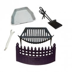 "Castle Fire Front, Grate and Ashpan Black Fire Set + 15"" Companion Set"