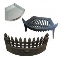 Complete Castle Fire Set - Fret, Grate & Ash Pan