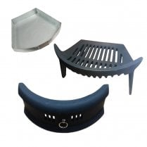 Complete Round Bow fire Set - Fret, Grate & Ash Pan
