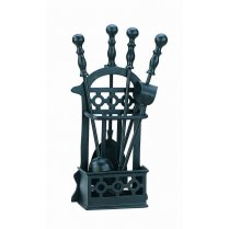 Fireside Companion Set Victorian Style- For Logs & Coal Fires- 41cm Black