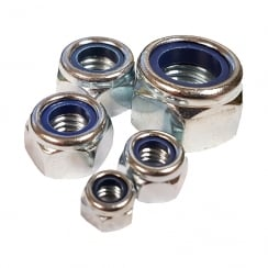 Nylon Lock Nuts - Zinc Plated - M6, M8, M10, M12, M16