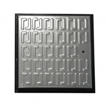 Pedestrian Manhole Cover - Galvanised Steel and PVC Frame 286 x 286mm Clear Opening