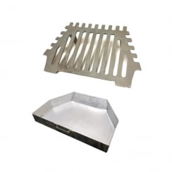 "Queen Star 2 Leg Grate and Ash Pan (16"" or 18"" Fireplace Openings)"