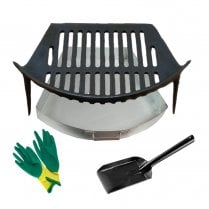 Round Bow Grate, Ashpan, Gloves and Shovel Set 16""