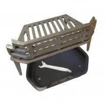 "WW/Victorian Fire Grate, Black Ash Pan & Tool for 16"" Fireplace Opening"