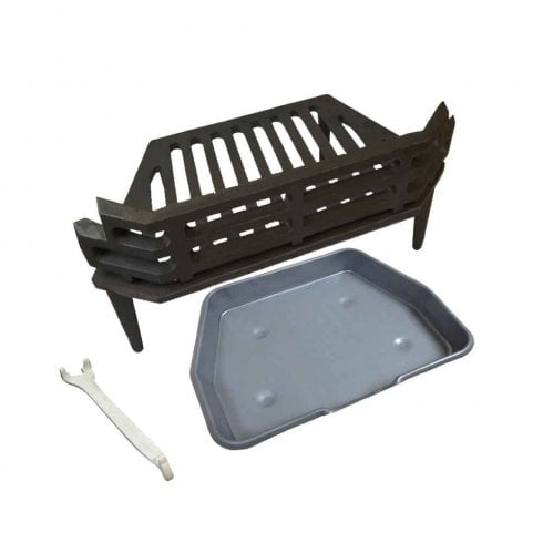"""Your DIY Shop WW/Victorian Fire Grate, Grey Ash Pan & Tool for 16"""" Fireplace Opening"""