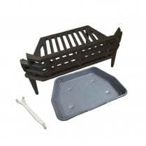 """WW/Victorian Fire Grate, Grey Ash Pan & Tool for 16"""" Fireplace Opening"""