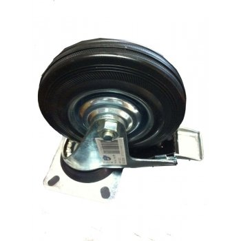 Zinc Plated Castor Swivel Braked - Plastic Wheel - 125mm