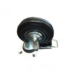 Zinc Plated Castor Swivel Braked - Plastic Wheel - 125mm
